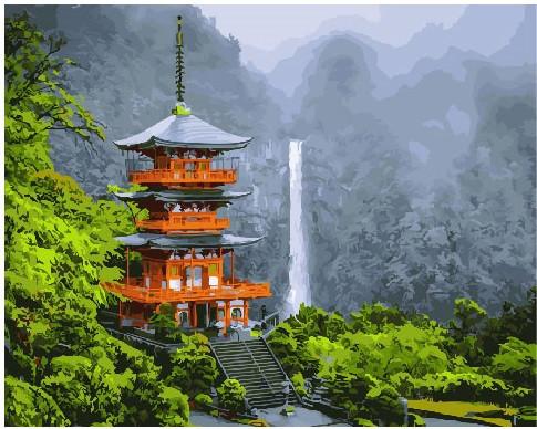 Картина по номерам Японская пагода 40 х 50 см (BRM25327)