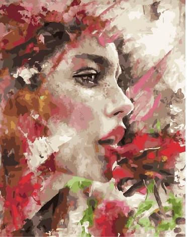 Картина по номерам Девушка в красочных цветах 40 х 50 см (BRM25845)