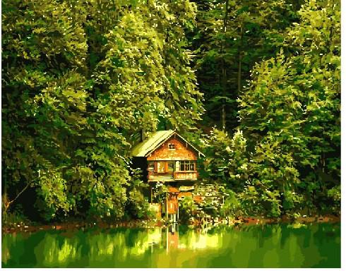 Картина по номерам Дом у пруда 40 х 50 см (BRM8896)
