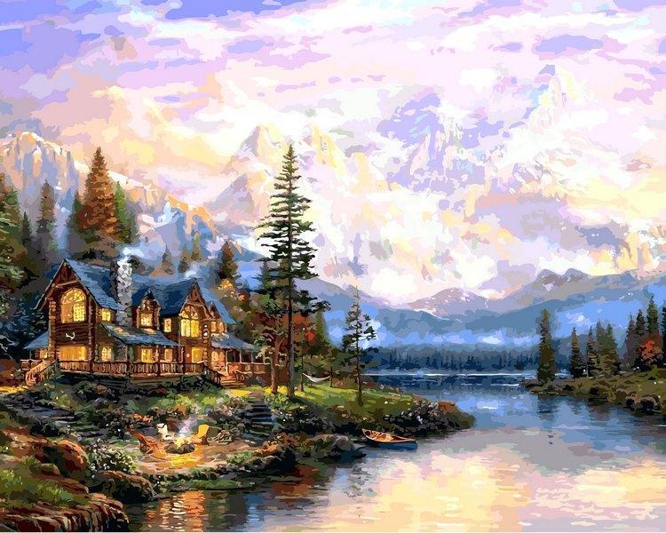 Картина за номерами Будинок біля гірського озера 40 х 50 см (VP1113)