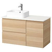 IKEA GODMORGON/TOLKEN/HORVIK Шкаф под умывальник с раковиной 45x32, белый окрашенный дубовый шпон, (392.084.95), фото 1