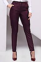 Стильные зауженные женские бордовые брюки, фото 1