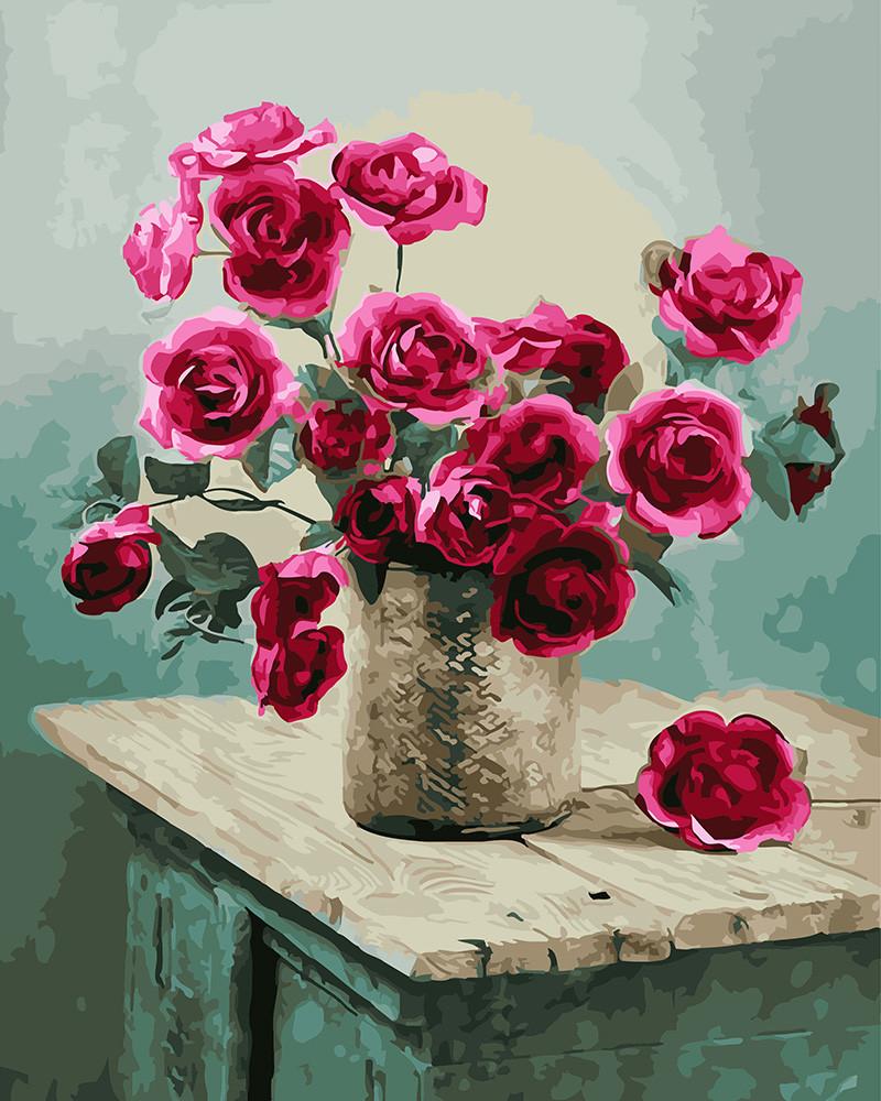 Картина по номерам Букет роз на комоде 40 х 50 см (BK-GX22758)