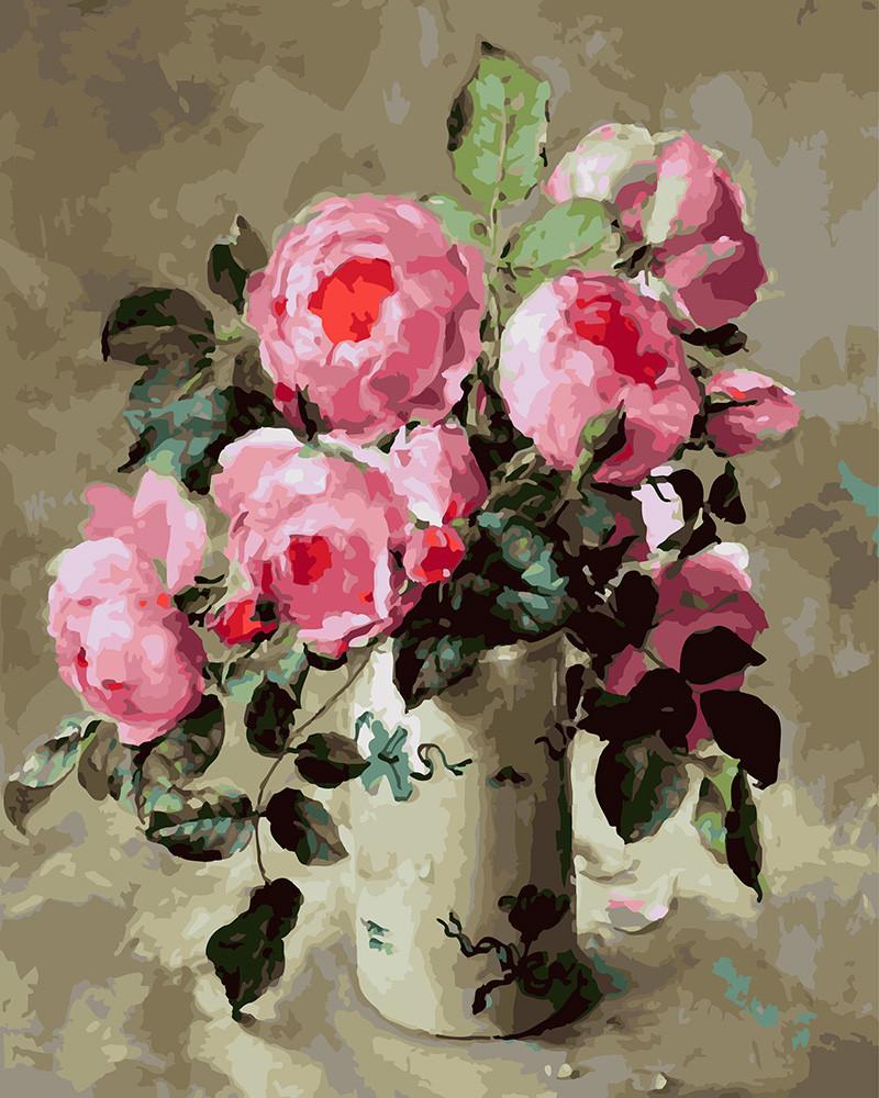 Картина по номерам Розы в белой вазе 40 х 50 см (BK-GX24623)