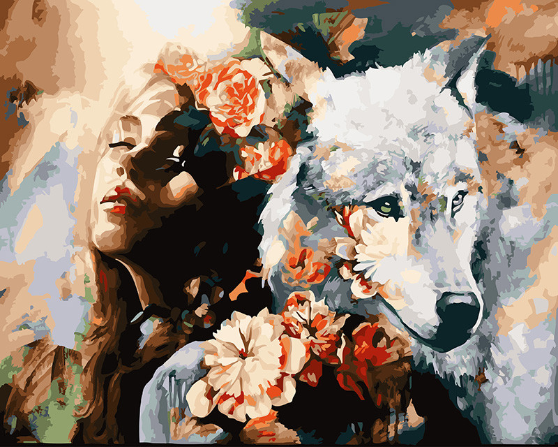 Картина по номерам Белая волчица 40 х 50 см (BRM22471)