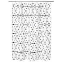 IKEA FOLJAREN Душевая занавеска, белый черный, серый  (103.469.11), фото 1