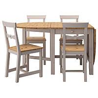 IKEA GAMLEBY Стол и 4 стула, светлая патина пятно, серый  (490.072.17)
