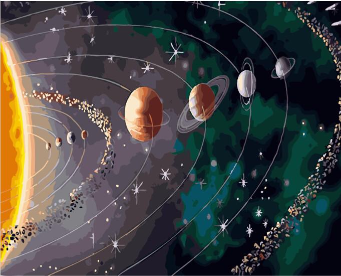 Картина по номерам парад планет тесьма репсовая с жаккардовой надписью