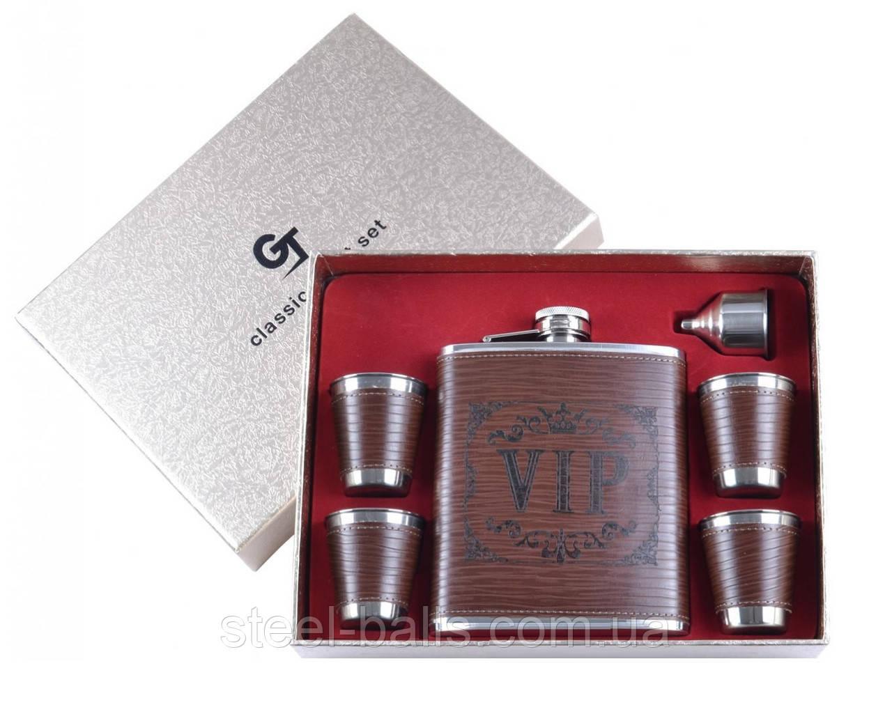 Подарочный набор VIP фляга, 4 стопки, лейка