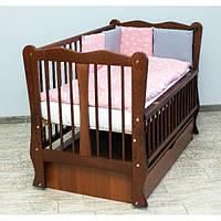 Кроватка детская Labona Волна № 12 на шарнирах с подшипником + ящик + откидная боковина, тик