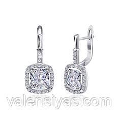 Серебряные серьги с белыми фианитами СК2Ф/393