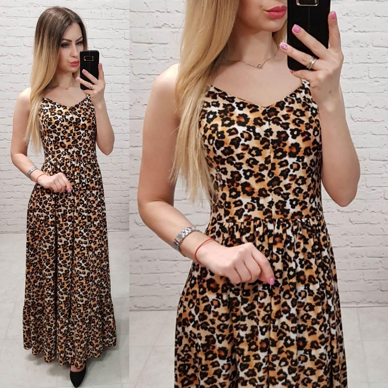 9fa1963e5ef159b Женственное длинное платье, арт 162, принт леопард - Интернет магазин  женской одежды