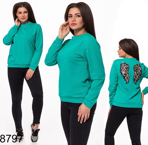 Модная женская кофта крылья с пайетками (бирюза) 828797