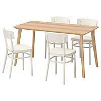 IKEA LISABO/IDOLF Стол и 4 стула, ясень шпон, белый  (491.614.83), фото 1