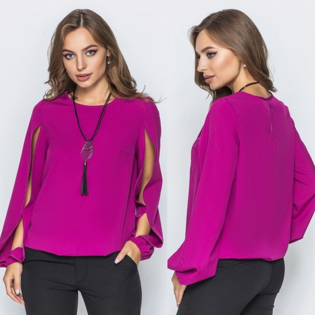 Красивая женская блуза с оригинальным рукавом с разрезами S, M, L, XL