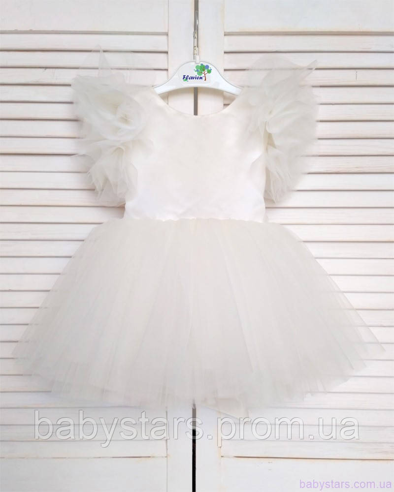 Воздушное детское платье код: 7047, цвет молочный, размеры: от 80 до 116