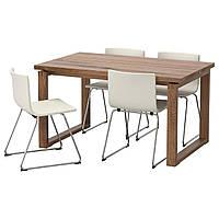 IKEA MORBYLANGA/BERNHARD Стол и 4 стула, коричневый, мжук белый  (592.460.43)