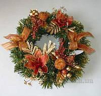 Новогодний венок с украшением Девилон 30см 470273