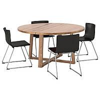 IKEA MORBYLANGA/BERNHARD Стол и 4 стула, дубовый шпон коричневая Морилка, мжук (292.901.22), фото 1