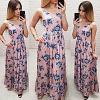 Женственное длинное платье, арт 162, принт голубой цветок на персиковом, фото 1