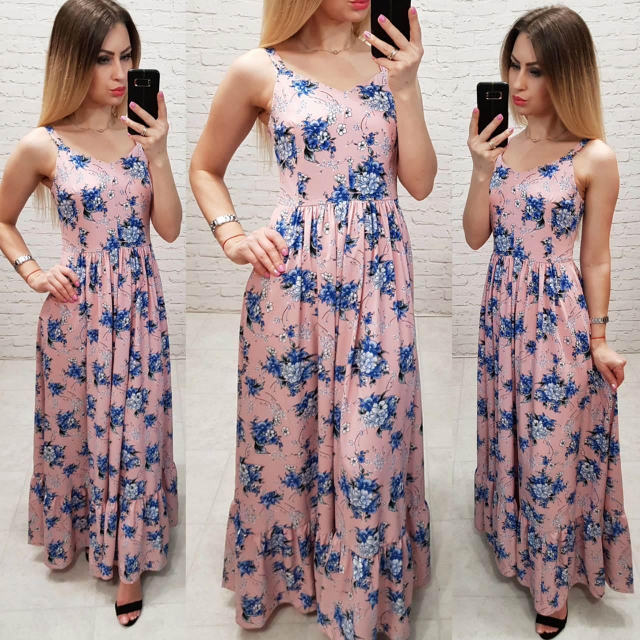 Женственное длинное платье, арт 162, принт голубой цветок на персиковом