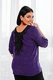 Джемпер кофта женская альпака турецкая на спине кружево размер:50-52,54-56, фото 4