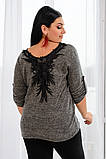 Джемпер кофта женская альпака турецкая на спине кружево размер:50-52,54-56, фото 7