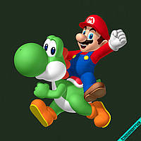 Термонаклейки на свитеры Марио и Йоши [Свой размер и материалы в ассортименте]