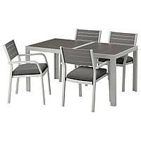 IKEA SJALLAND Садовый стол и 4 стула, темно-серый, (292.656.60)