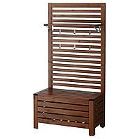 IKEA APPLARO Настенная садовая панель со скамейкой и полками, коричневая морилка  (199.174.02), фото 1