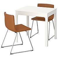 IKEA EKEDALEN/BERNHARD Стол и 2 стула, белый, Мжук золотисто-коричневый  (092.806.90), фото 1