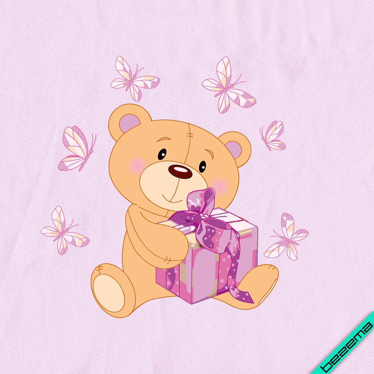Аппликации на парео Мишка с подарком [Свой размер и материалы в ассортименте]