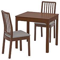 IKEA EKEDALEN/EKEDALEN Стол и 2 стула, коричневый, Оррста светло-серый  (192.968.79)