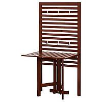 IKEA APPLARO Садовый пристенный стол с панелью, черная/коричневая морилка  (490.540.15), фото 1