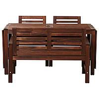 IKEA APPLARO Садовый стол с 2 стулами и скамейкой, коричневая морилка (498.984.78)