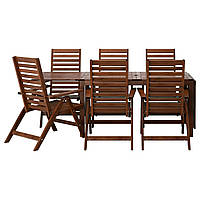 IKEA APPLARO Садовый стол и 6 раскладных стульев, коричневые окрашенные  (690.539.15)