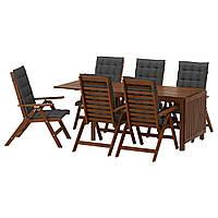 IKEA APPLARO Садовый стол и 6 раскладных стульев, коричневая морилка, Холло (891.564.46)