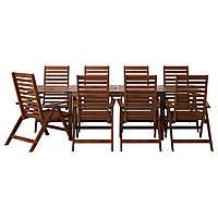 IKEA APPLARO Садовый стол и 8 раскладных стульев, коричневые окрашенные  (690.539.82)