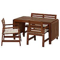 IKEA APPLARO Садовый стол с 2 стулами и скамейкой, коричневая морилка, Холло (491.564.10), фото 1