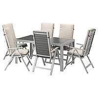 IKEA SJALLAND Садовый стол и 6 раскладных стульев, темно-серый (692.667.90), фото 1