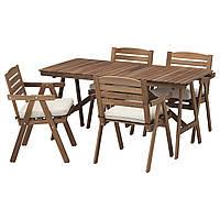 IKEA FALHOLMEN Садовый стол и 4 стула, серо-коричневый, (492.690.11), фото 1
