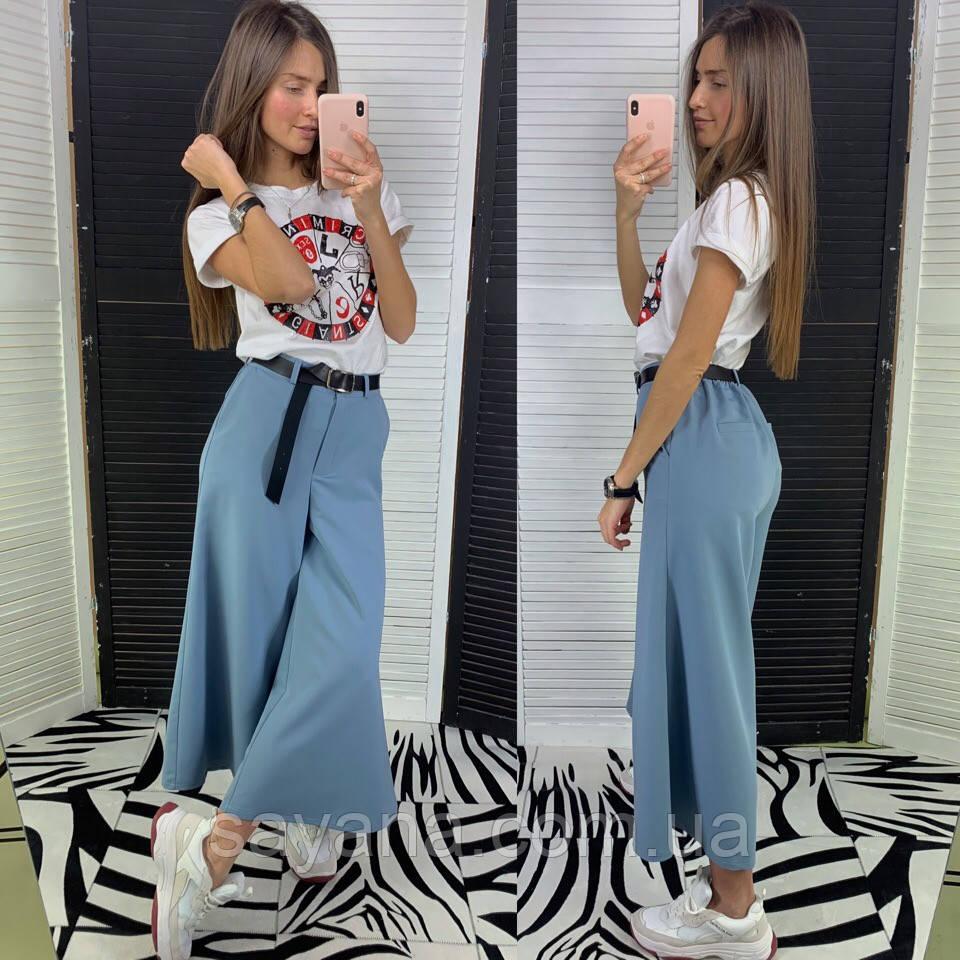 Женские стильные брюки- кюлоты с поясом в расцветках. ЛД 29-0419