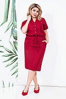 Сильное льняное платье на кулиске 46883 (48–54р) в расцветках , фото 1