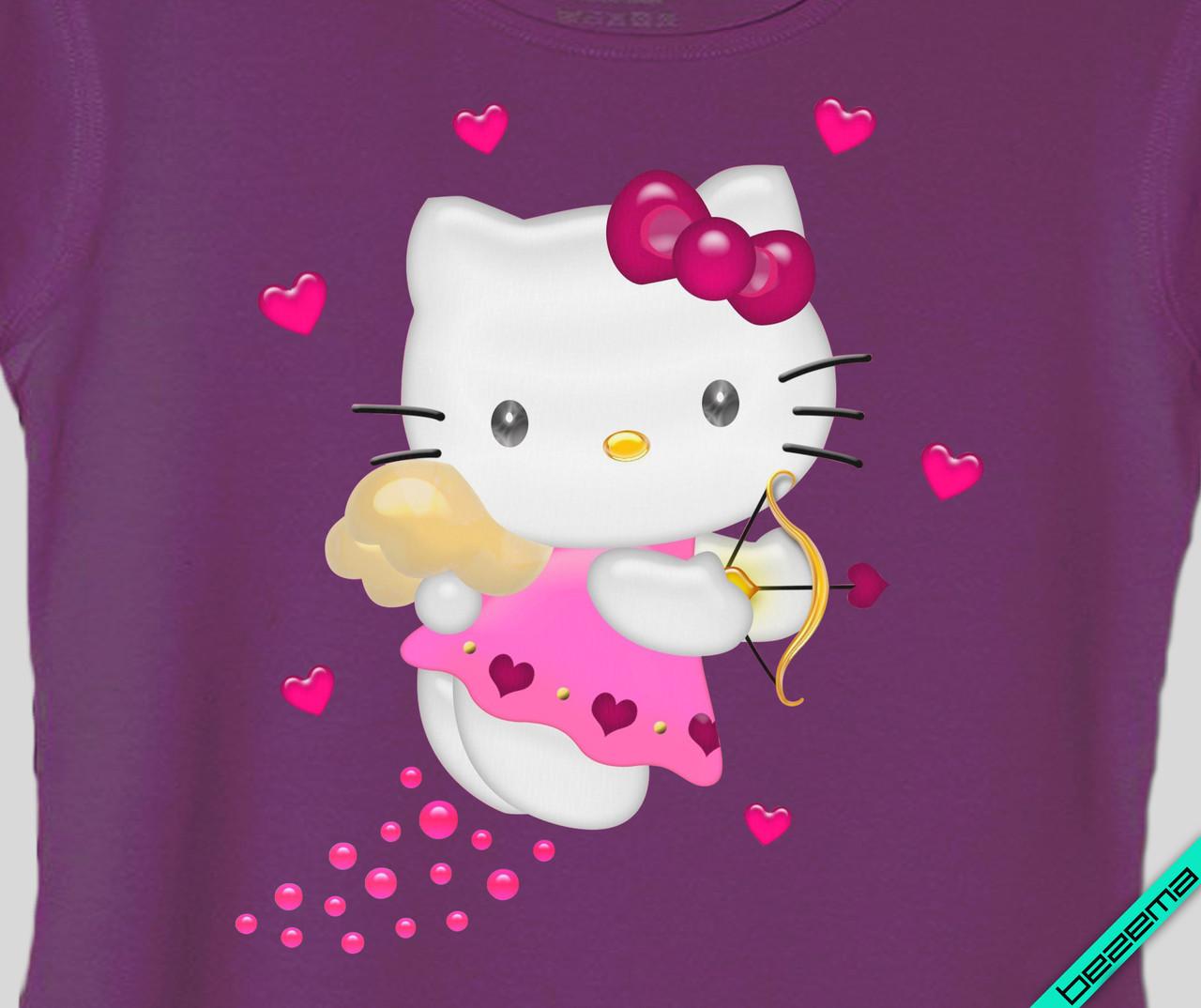 Картинки на челочно-носочные изделия Hello Kitty сердце [Свой размер и материалы в ассортименте]