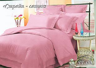 Комплект постільної білизни Тет-А-Тет двоспальне Страйп сатин рожевий ST-002