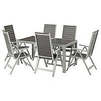 IKEA SJALLAND Садовый стол и 6 раскладных стульев, темно-серый (992.654.35)
