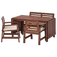 IKEA APPLARO Садовый стол с 2 стулами и скамейкой, коричневая морилка, (792.920.29)