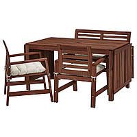IKEA APPLARO Садовый стол с 2 стулами и скамейкой, коричневая морилка, куддарна (092.882.95)