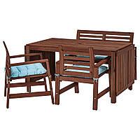 IKEA APPLARO Садовый стол с 2 стулами и скамейкой, коричневая морилка, куддарна (592.894.00)