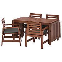 IKEA APPLARO Садовый стол и 4 стула, коричневая морилка (392.920.88), фото 1